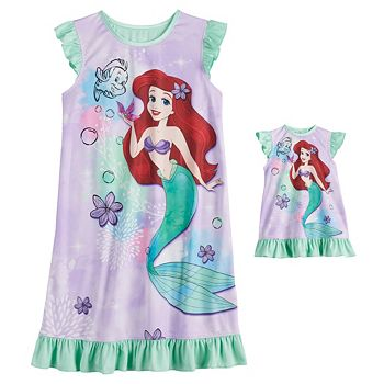 Disney's The Little Mermaid Ariel Girls 4-8 Dorm Nightgown and Matching Doll Gown Licensed Character