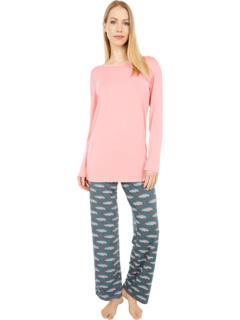 Пижамный комплект из футболки и брюк Loosey Goosey с длинным рукавом KicKee Pants