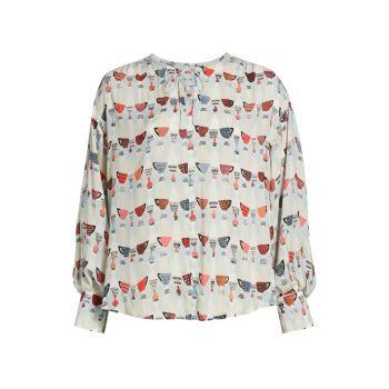 Блуза свободного кроя с принтом кофейных чашек NIC+ZOE