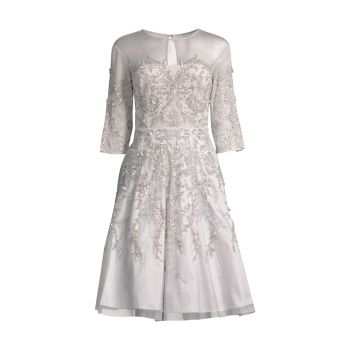 Коктейльное платье с вышивкой и бусинами Aidan Mattox