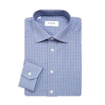 Slim-Fit Microprint Dress Shirt Eton