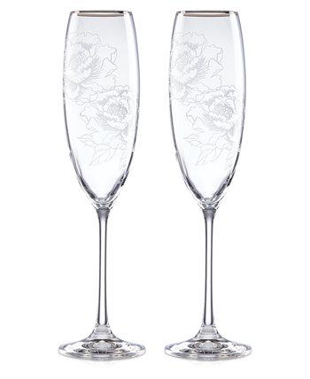 Серебряные флейты для тостов с пионами Lenox