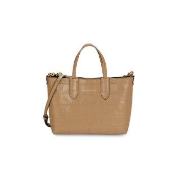 Миниатюрная кожаная сумка-шоппер с тиснением под крокодила Alexander McQueen