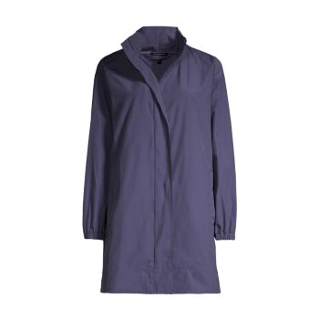 Stand Collar Hidden Hood Coat Eileen Fisher