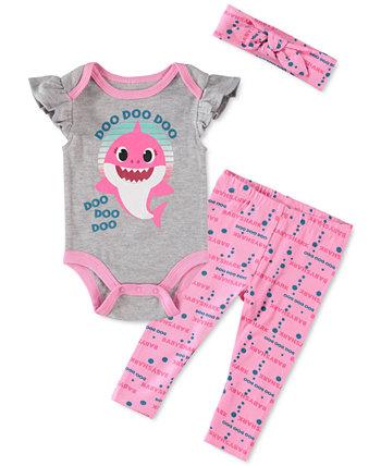 Baby Girls 3-Pc. Комплект боди, леггинсов и повязки на голову Baby Shark HAPPY THREADS