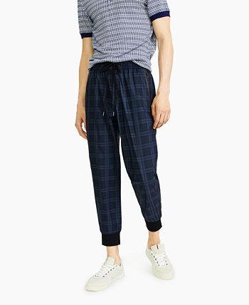 Мужские брюки-джоггеры из твила с заниженным шаговым швом Paisley & Gray