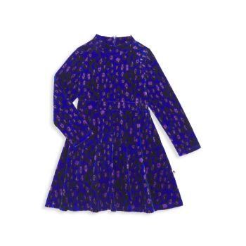 Маленькая девочка & amp; Велюровое платье с леопардовым принтом для девочек Mini rodini