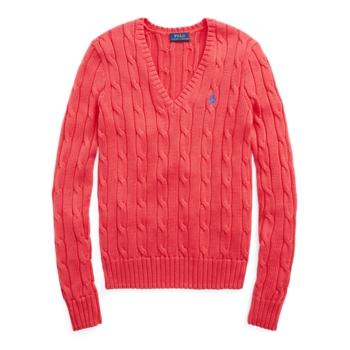 Хлопковый свитер кабельной вязки с V-образным вырезом Ralph Lauren