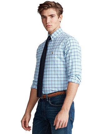 Мужская большая и высокая классическая клетчатая оксфордская рубашка Ralph Lauren