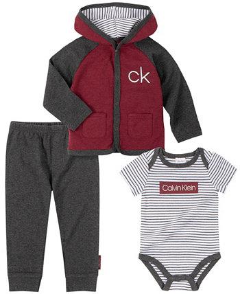 Малыши для мальчиков 4 шт. Полосатая футболка, боди, худи и брюки-джоггеры Calvin Klein