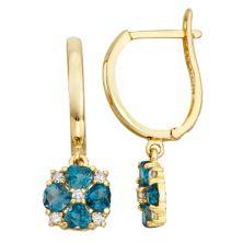 Tiara 10k Gold 1/10 Carat T.W. Diamond London Blue Topaz Earrings Tiara