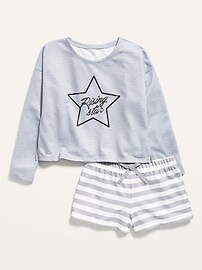 French Terry Pajama Top & Pajama Shorts Set for Girls Old Navy