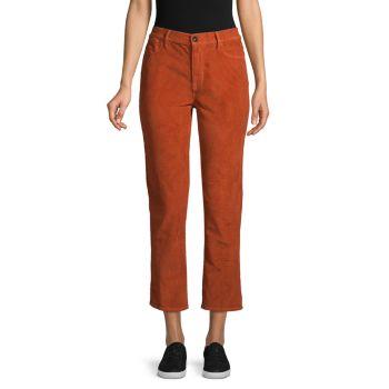 Вельветовые прямые брюки до щиколотки с высокой посадкой Frame Denim