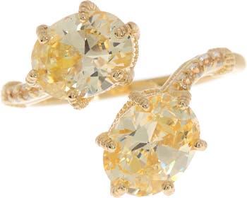 Кольцо с двойным перепускным кольцом CZ из стерлингового серебра с покрытием из 14 каратного золота Judith Ripka