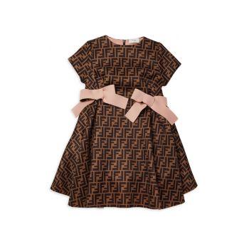Маленькая девочка & amp; Платье для девочек из неопрена с логотипом по всей поверхности FENDI