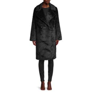 Двубортное пальто из искусственного меха DKNY