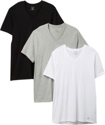 Хлопковая футболка классического кроя с V-образным вырезом - 3 шт. В упаковке Calvin Klein