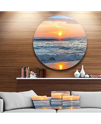 """Дизайн """"Красивый восход солнца над горизонтом"""". Искусство стены """"Металлический круг"""" на пляже - 23 """"x 23"""" Design Art"""