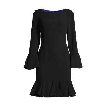 Платье из крепа с расклешенными рукавами SHANI