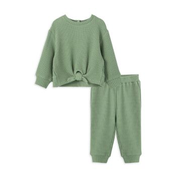 Baby Girl's 2-Piece Thermal Tie Front Top & Joggers Set Habitual