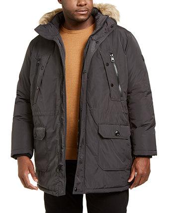 Мужское длинное и длинное пальто с трубкой и капюшоном из искусственного меха Calvin Klein