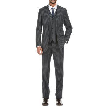 Приталенный костюм-тройка в полоску из смесовой шерсти English Laundry