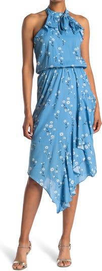 Асимметричное платье с цветочным принтом и высокой горловиной Parker