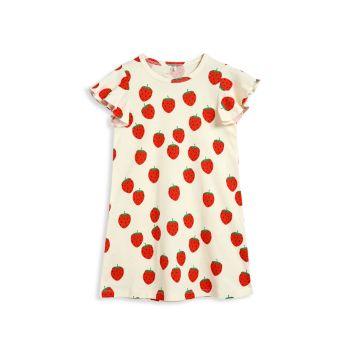 Клубничное платье прямого кроя для маленьких девочек и девочек Mini rodini