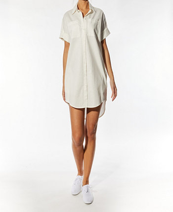 Свободное платье-рубашка с короткими рукавами OAT