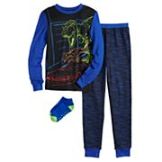 Boys 6-12 Cuddl Duds® 3-Piece Top & Bottoms Pajama Set With Socks Cuddl Duds