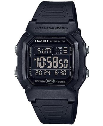 Мужские цифровые затемненные черные часы с ремешком из смолы 36,8 мм Casio