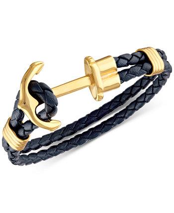 Темно-синий плетеный кожаный браслет с застежкой-якорем из нержавеющей стали с ионным покрытием, созданный для Macy's Esquire Men's Jewelry
