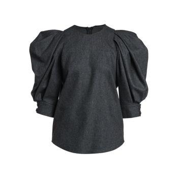 Wool-Blend Puff-Sleeve Blouse Giorgio Armani