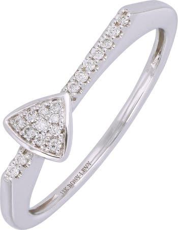 Кольцо с треугольным паве из белого золота 18 карат - 0,08 карата Bony Levy