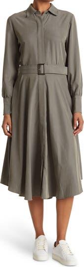 Платье-рубашка миди трапециевидной формы с длинными рукавами и закругленным краем CLUB MONACO