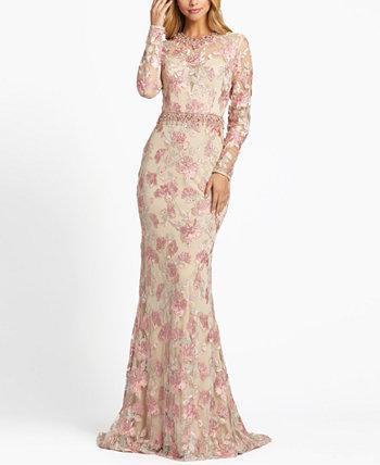Платье с цветочной вышивкой и вышивкой MAC DUGGAL