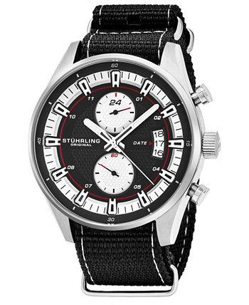 Оригинальный мужской кварцевый, серебряный корпус, серебряный циферблат; Черно-серые полосатые нейлоновые ремешок даты двойные часы Stuhrling