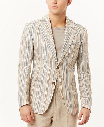 Мужской приталенный пиджак в металлическую полоску Tallia