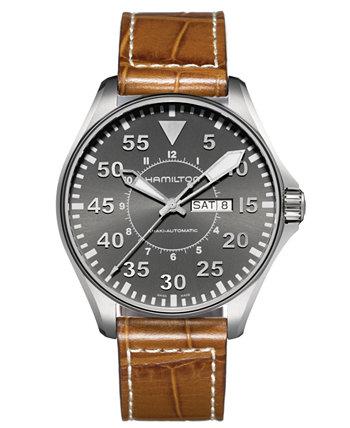 Часы мужские Swiss Automatic Khaki Pilot Brown с кожаным ремешком 46 мм H64715885 Hamilton