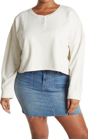 Henley Fleece Crop Organic Cotton Sweatshirt Abound