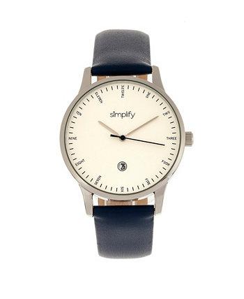 Quartz The 4300 Silver Case, Часы из натуральной кожи темно-синего цвета, 42 мм Simplify