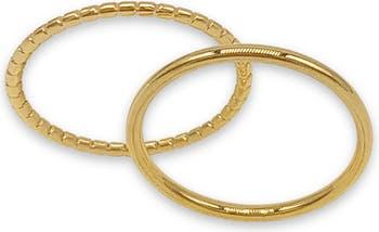 Наборные кольца с вермеилом из желтого золота 585 пробы - набор из 2 шт. ADORNIA