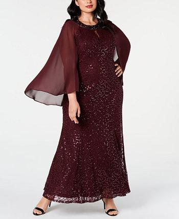 Кружевное платье с капюшоном больших размеров SL Fashions