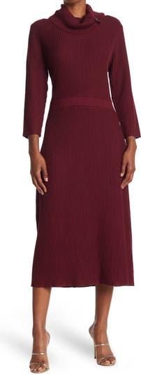 Трикотажное платье миди в рубчик с воротником-хомутом Sandra Darren