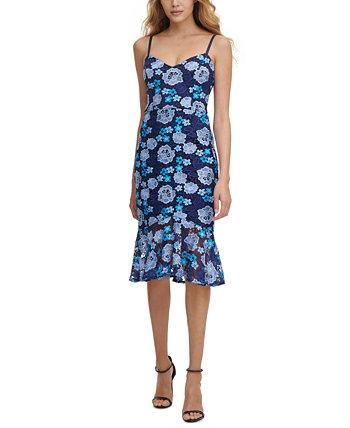 Платье-комбинация миди с цветочным кружевом GUESS