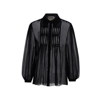 Шифоновая шелковая блуза с защипами и украшением Alberta Ferretti