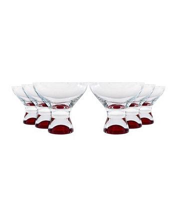 Samba Colours Martini Dessert Glass 11 унций, набор из 6 шт. Red Vanilla