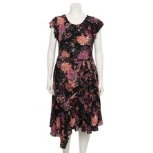 Plus Size Gabby Skye Georgette Ruffle-Sleeve Dress Gabby Skye