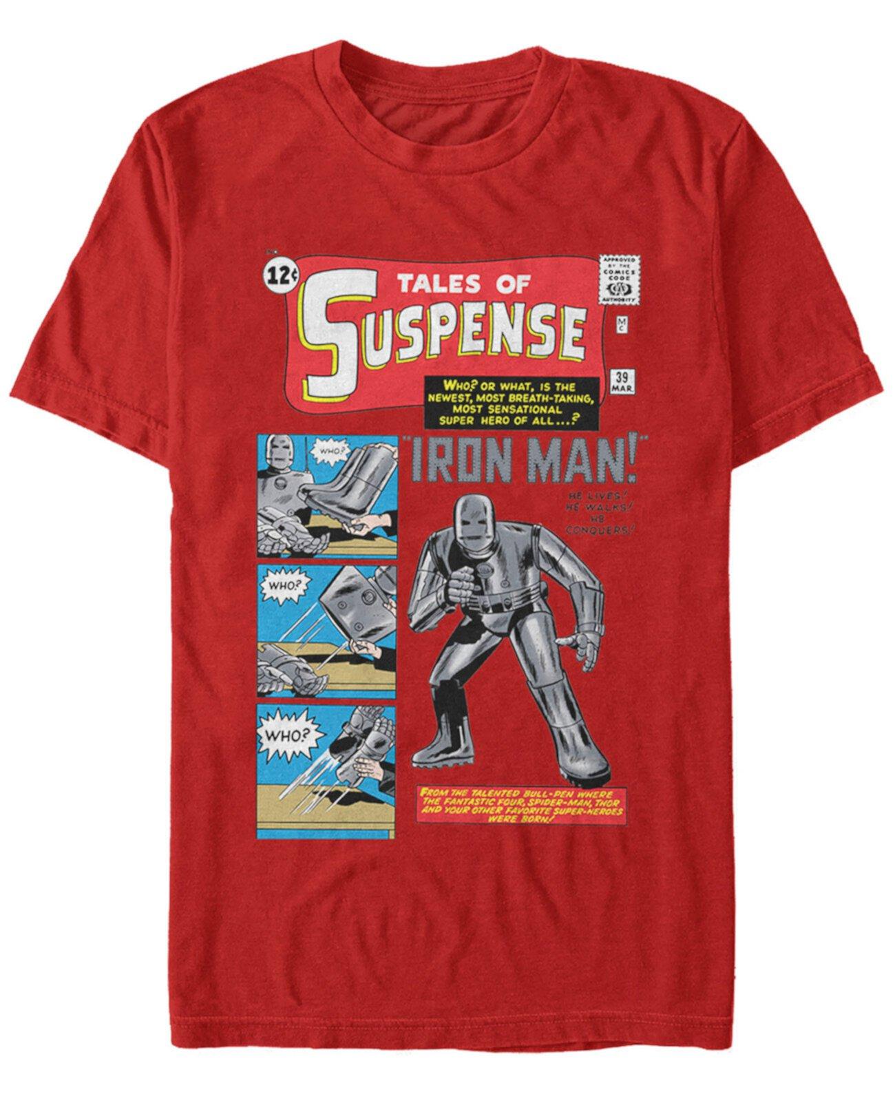 Мужская Iron Man Ретро Сказки Suspense Comic Cover, футболка с коротким рукавом Marvel