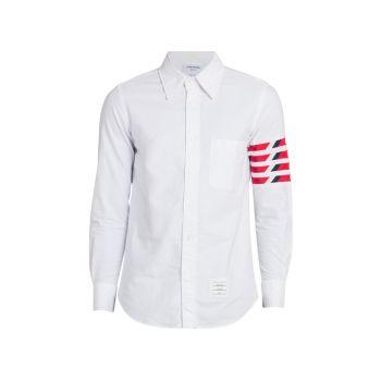 Оксфордская рубашка прямого кроя на пуговицах THOM BROWNE